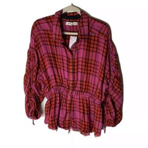 Free People We The Free NEW Women's Shirt Size Large Top Plaid Tie Sleeves